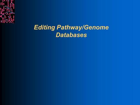 Editing Pathway/Genome Databases. SRI International Bioinformatics Pathway Tools Paradigm Separate database from user interface Navigator provides one.