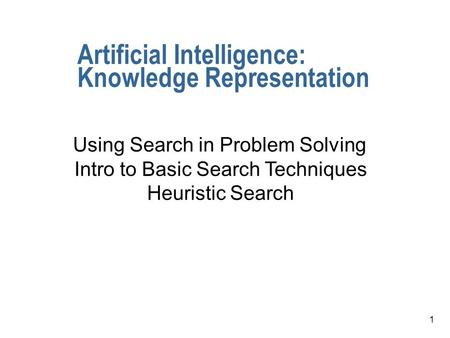 1 Artificial Intelligence: Knowledge Representation Using Search in Problem Solving Intro to Basic Search Techniques Heuristic Search.
