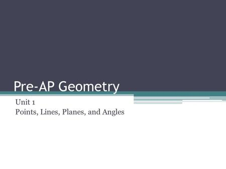 Pre-AP Geometry Unit 1 Points, Lines, Planes, and Angles.
