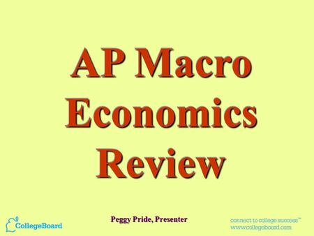 AP Macro Economics Review Peggy Pride, Presenter.