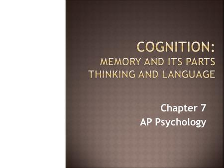 Chapter 7 AP Psychology. Memory: A system that encodes, stores and retrieves information. While we are learning more about memory every day, psychologists.