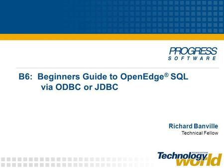 B6: Beginners Guide to OpenEdge ® SQL via ODBC or JDBC Richard Banville Technical Fellow.