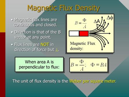 Magnetic Flux Density Magnetic Flux density: A Magnetic flux lines are continuous and closed.Magnetic flux lines are continuous and closed. Direction.