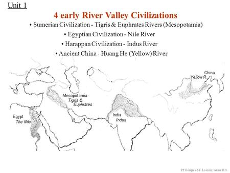Unit 1 4 early River Valley Civilizations Sumerian Civilization - Tigris & Euphrates Rivers (Mesopotamia) Egyptian Civilization - Nile River Harappan.