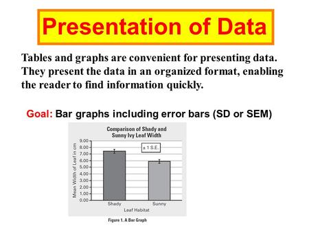 Presentation of Data Tables and graphs are convenient for presenting data. They present the data in an organized format, enabling the reader to find information.