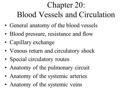 Chapter 20: Blood Vessels and Circulation General anatomy of the blood vessels Blood pressure, resistance and flow Capillary exchange Venous return and.