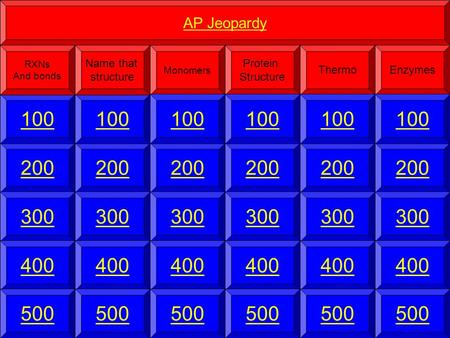 200 100 AP Jeopardy RXNs And bonds 300 400 500 Monomers Protein Structure Thermo 200 100 Name that structure 300 400 500 Enzymes 200 100 300 400 500 200.