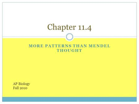 MORE PATTERNS THAN MENDEL THOUGHT Chapter 11.4 AP Biology Fall 2010.