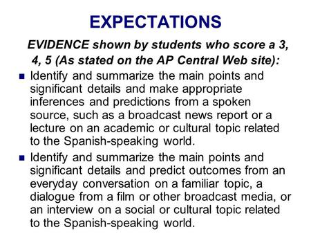 EXPECTATIONS EVIDENCE shown by students who score a 3, 4, 5 (As stated on the AP Central Web site): Identify and summarize the main points and significant.