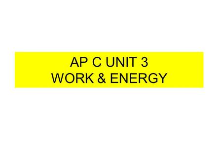 AP C UNIT 3 WORK & ENERGY. SCALAR PRODUCT or DOT PRODUCT Dot Product is defined as the magnitude of 1 st ( ) times scalar component of 2nd vector ( )