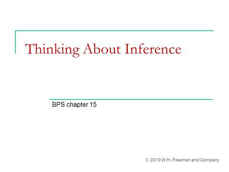 Thinking About Inference
