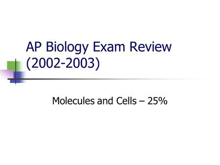AP Biology Exam Review (2002-2003) Molecules and Cells – 25%