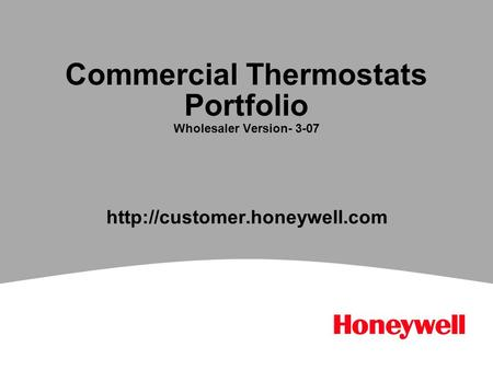 Commercial Thermostats Portfolio Wholesaler Version- 3-07