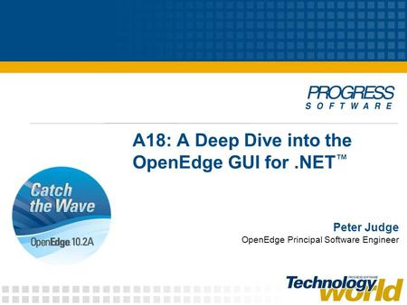 A18: A Deep Dive into the OpenEdge GUI for.NET Peter Judge OpenEdge Principal Software Engineer.