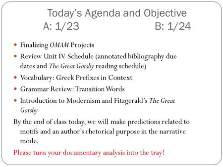 Todays Agenda and Objective A: 1/23 B: 1/24 Finalizing OMAM Projects Review Unit IV Schedule (annotated bibliography due dates and The Great Gatsby reading.