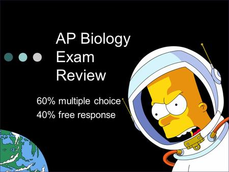 AP Biology Exam Review 60% multiple choice 40% free response.