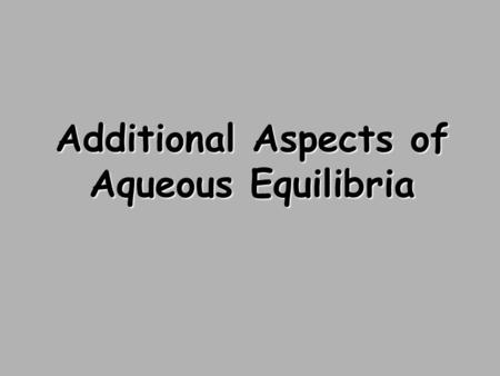 Additional Aspects of Aqueous Equilibria. Reaction of Weak Bases with Water The base reacts with water, producing its conjugate acid and hydroxide ion: