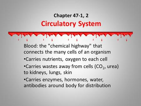 Chapter 47-1, 2 Circulatory System Blood: the chemical highway that connects the many cells of an organism Carries nutrients, oxygen to each cell Carries.