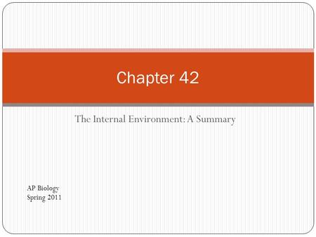 The Internal Environment: A Summary Chapter 42 AP Biology Spring 2011.