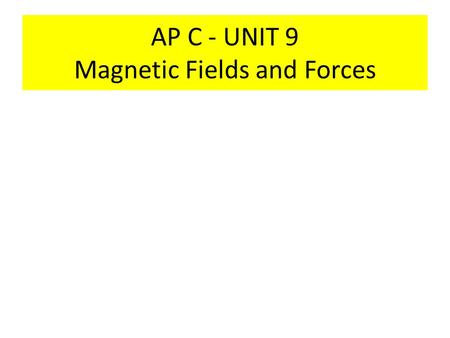 AP C - UNIT 9 Magnetic Fields and Forces. Magnetic Materials All magnetic materials have two poles –Labeled: North and South poles –Like poles repel each.