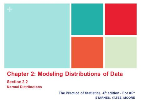 + Chapter 2: Modeling Distributions of Data Section 2.2 Normal Distributions The Practice of Statistics, 4 th edition - For AP* STARNES, YATES, MOORE.