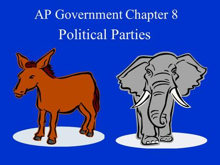AP Government Chapter 8 Political Parties. Different types of political systems One Party Two-Party Multi Party.