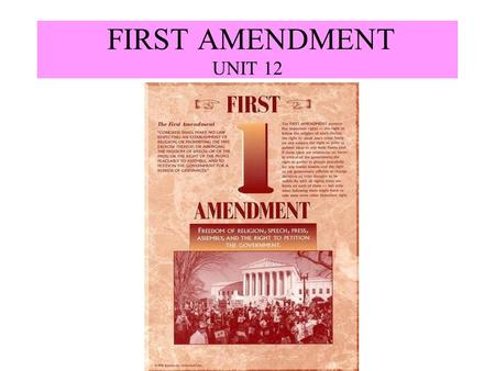FIRST AMENDMENT UNIT 12. I. Religious Pluralism Occurs when society has many religions being practiced within it. Occurs when society has many religions.