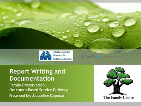 Report Writing and Documentation Family Preservation, Outcomes Based Service Delivery Presented by: Jacqueline Dagneau.
