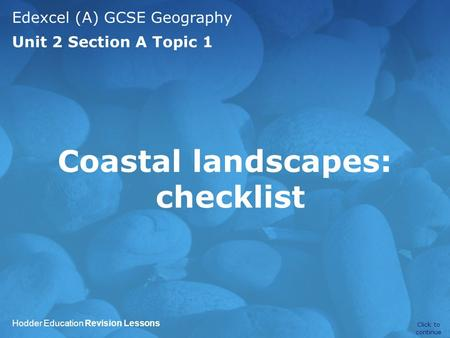Coastal landscapes: checklist