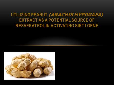 UTILIZING PEANUT (ARACHIS HYPOGAEA) EXTRACT AS A POTENTIAL SOURCE OF RESVERATROL IN ACTIVATING SIRT1 GENE.