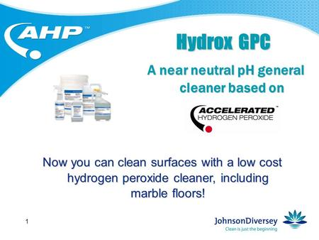 1 Hydrox GPC A near neutral pH general cleaner based on Now you can clean surfaces with a low cost hydrogen peroxide cleaner, including marble floors!