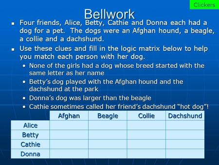 Bellwork Four friends, Alice, Betty, Cathie and Donna each had a dog for a pet. The dogs were an Afghan hound, a beagle, a collie and a dachshund. Four.