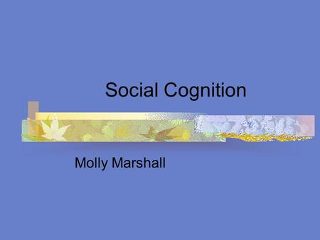 Social Cognition Molly Marshall. What is social cognition? How we think about other people How we process social information How we explain other peoples.