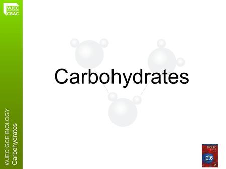 WJEC GCE BIOLOGY Carbohydrates 2.6. WJEC GCE BIOLOGY Carbohydrates Carbohydrates are made from CARBON, HYDROGEN and OXYGEN Plant cell walls depend on.