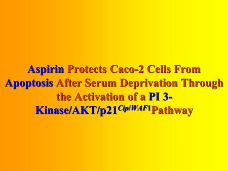 Aspirin Protects Caco-2 Cells From Apoptosis After Serum Deprivation Through the Activation of a PI 3- Kinase/AKT/p21Cip/WAF1Pathway.