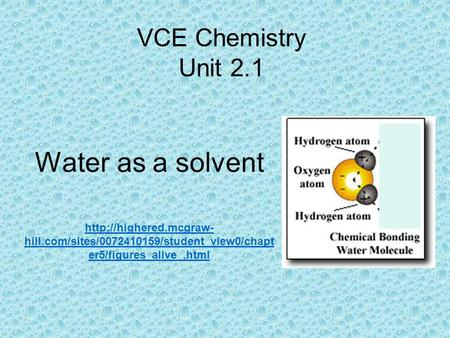 Water as a solvent VCE Chemistry Unit 2.1