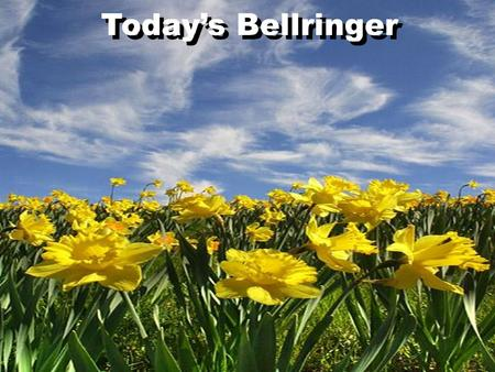 Todays Bellringer. Describe a time when you were depressed or discouraged. What made you discouraged? How long did it last? How did you get over it? Todays.