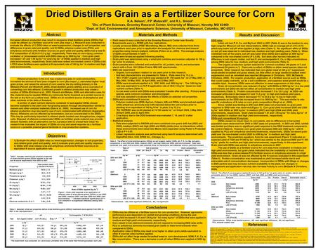 Conclusions DDGs may be utilized as a fertilizer source for corn production. However, agronomic performance was dependant on rainfall and growing conditions.