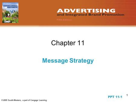 1 © 2009 South-Western, a part of Cengage Learning Chapter 11 Message Strategy PPT 11-1.