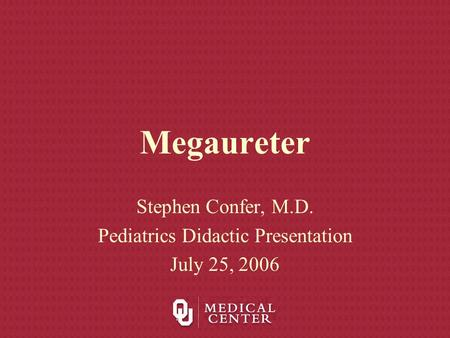 Megaureter Stephen Confer, M.D. Pediatrics Didactic Presentation July 25, 2006.