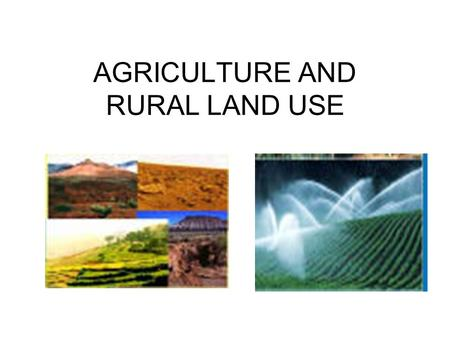 AGRICULTURE AND RURAL LAND USE. DEVELOPMENT AND DIFFUSION NEOLITHIC REVOLUTION – w,w,w,w SECOND AG REVOLUTION – w,w,w,w THIRD AG REVOLUTION – w,w,w,w.
