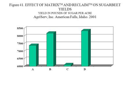 Figure 41. EFFECT OF MATRIX TM AND RECLAIM TM ON SUGARBEET YIELDS YIELD IN POUNDS OF SUGAR PER ACRE AgriServ, Inc. American Falls, Idaho. 2001.