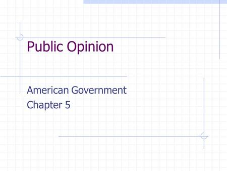Public Opinion American Government Chapter 5. What is Public opinion? Definition - What do the people think? Public opinion and government action often.