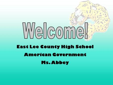 East Lee County High School American Government Ms. Abbey.