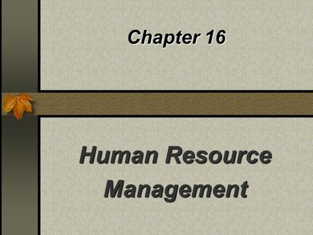 Chapter 16 Human Resource Management. Management: The Accomplishment of Work Through People To be successful managers need to know: What motivates human.