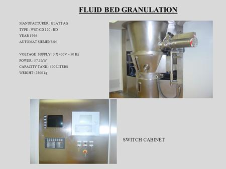 FLUID BED GRANULATION SWITCH CABINET MANUFACTURER : GLATT AG