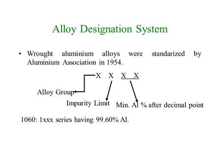 Alloy Designation System Wrought aluminium alloys were standarized by Aluminium Association in 1954. X X Alloy Group Impurity Limit Min. Al % after decimal.