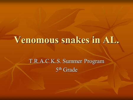 Venomous snakes in AL. T.R.A.C.K.S. Summer Program 5 th Grade.