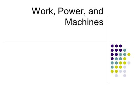 Work, Power, and Machines. What is Work? transfer of energy to a body by application of a force that causes body to move in direction of force. W = F.