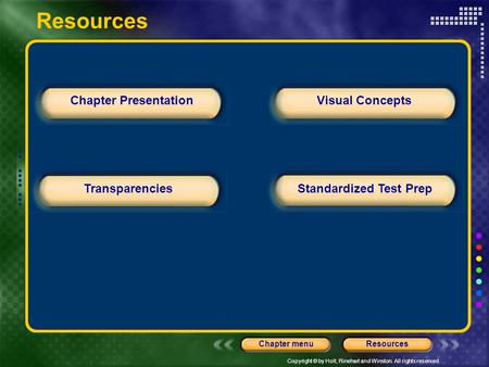 Copyright © by Holt, Rinehart and Winston. All rights reserved. ResourcesChapter menu Chapter Presentation TransparenciesStandardized Test Prep Visual.